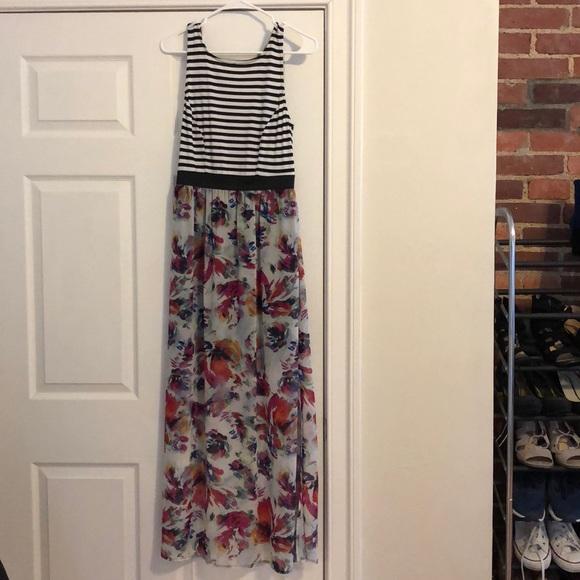 Xhilaration Dresses & Skirts - Floral and black/white striped maxi dress